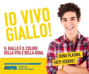 Io vivo giallo! campagna per la donazione di plasma di avis rmilia-romagna